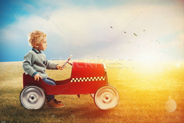 Child with car plays in a green field Stock photo © alphaspirit