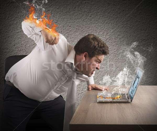 бизнесмен огненный ярость сердиться человека кулаком Сток-фото © alphaspirit