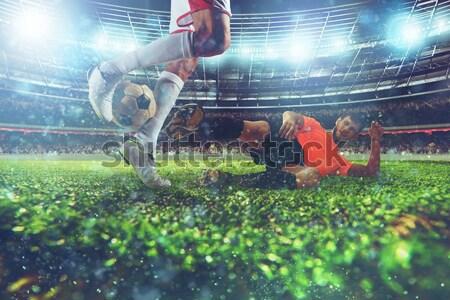 Stock fotó: Zsákmány · labda · futballista · fű · vihar · erő