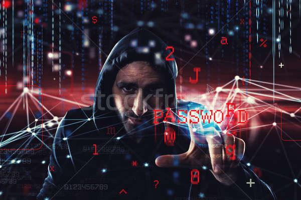 Hacker czytania osobowych informacji prywatność bezpieczeństwa Zdjęcia stock © alphaspirit