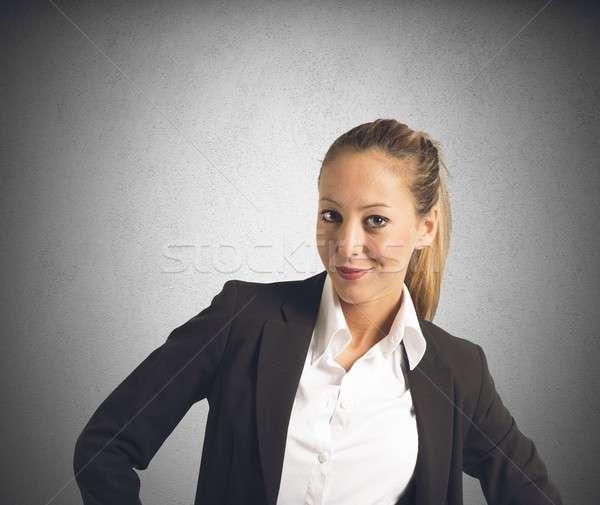Satisfecho mujer de negocios carrera negocios oficina Foto stock © alphaspirit