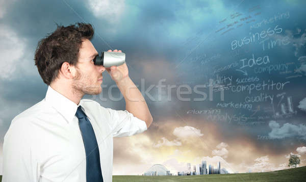 Businessman looking for new business Stock photo © alphaspirit
