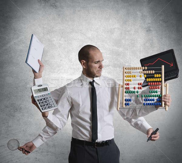 Crisis business computer werk glas zakenman Stockfoto © alphaspirit
