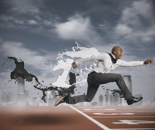 Desafiar negócio homem empresário saltar financiar Foto stock © alphaspirit