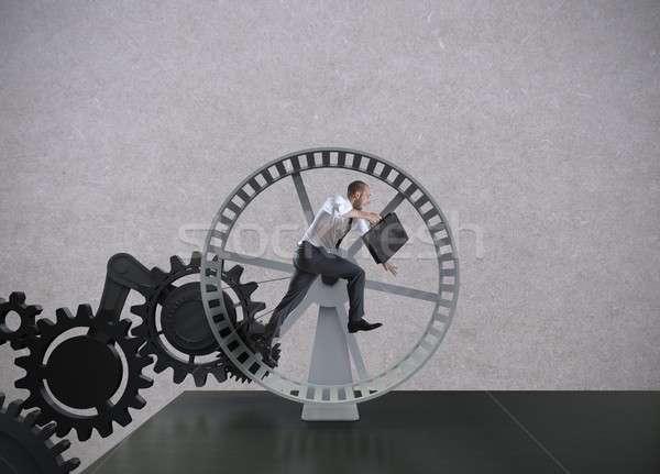 бизнеса механизм человека работу бизнесмен работает Сток-фото © alphaspirit