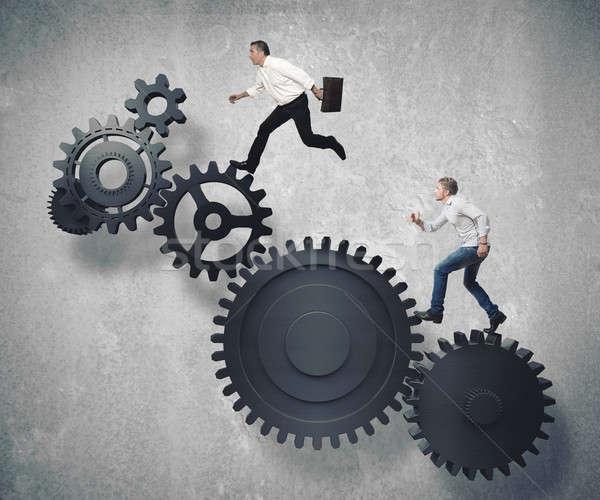 Affaires mécanisme courir temps travailleur Finance Photo stock © alphaspirit