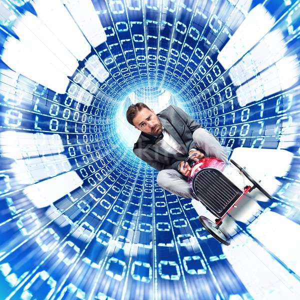 Gyors internet férfi fut kábel üzlet Stock fotó © alphaspirit
