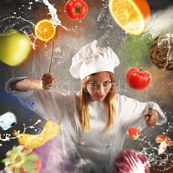 Zły wymagający kucharz żywności owoców bananów Zdjęcia stock © alphaspirit