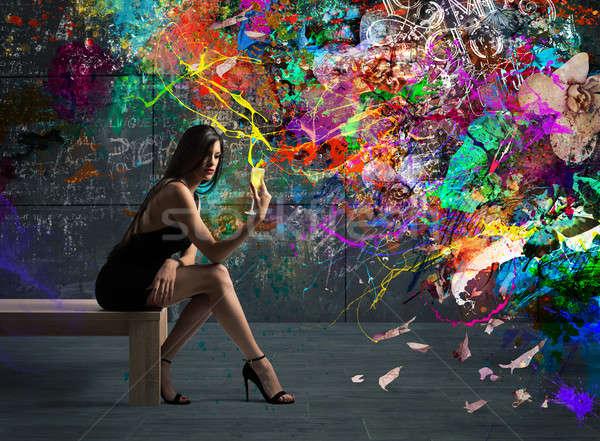 Elegáns színes ital lány kéz ül Stock fotó © alphaspirit