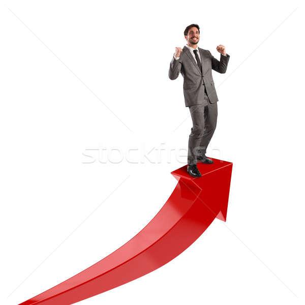 Om de afaceri economic succes roşu săgeată om Imagine de stoc © alphaspirit