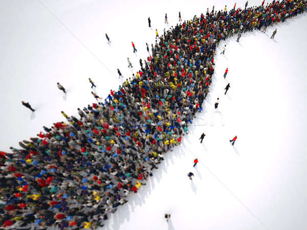 3D Rendering people form a winding road Stock photo © alphaspirit
