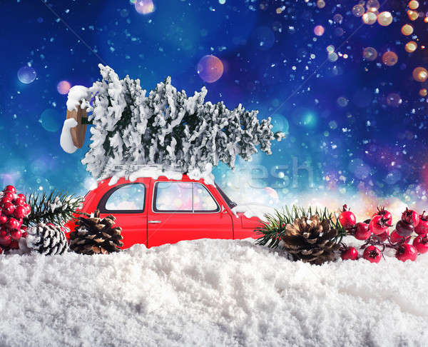 Vintage Car that transport a Christmas tree Stock photo © alphaspirit