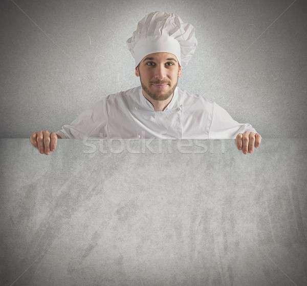Chef tonen menu billboard papier werk Stockfoto © alphaspirit