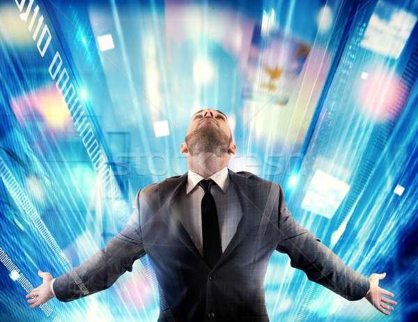 Internet multimédia férfi karok üzlet üzletember Stock fotó © alphaspirit