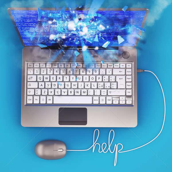 Stock fotó: Laptop · 3D · illustrator · drót · egér · számítógép