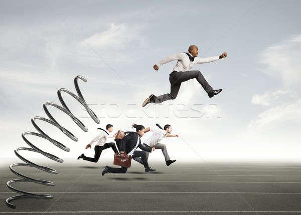 успех бизнесмен прыжки весны гонка человека Сток-фото © alphaspirit