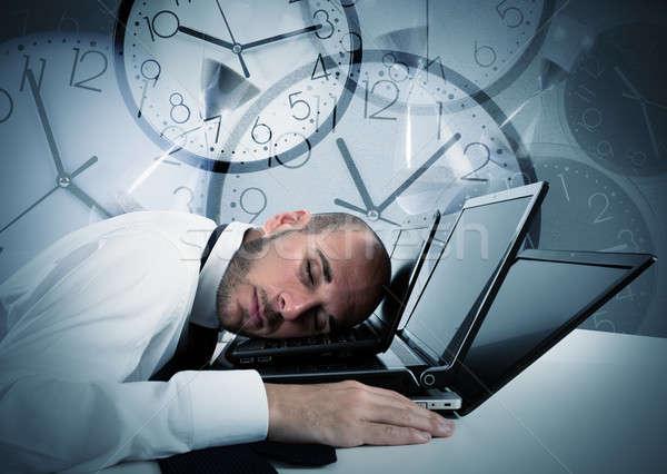 Businessman tired from overwork Stock photo © alphaspirit