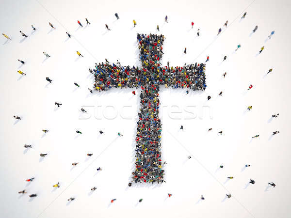 Many people together in a crucifix shape. 3D Rendering Stock photo © alphaspirit