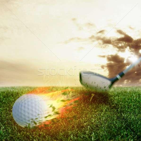 Golf bola de fuego fuego pelota club deporte Foto stock © alphaspirit