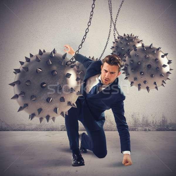 üzletember határozott vad golyók üzlet férfi Stock fotó © alphaspirit