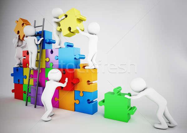 Biali ludzie budować firmy zespołowej 3D Zdjęcia stock © alphaspirit