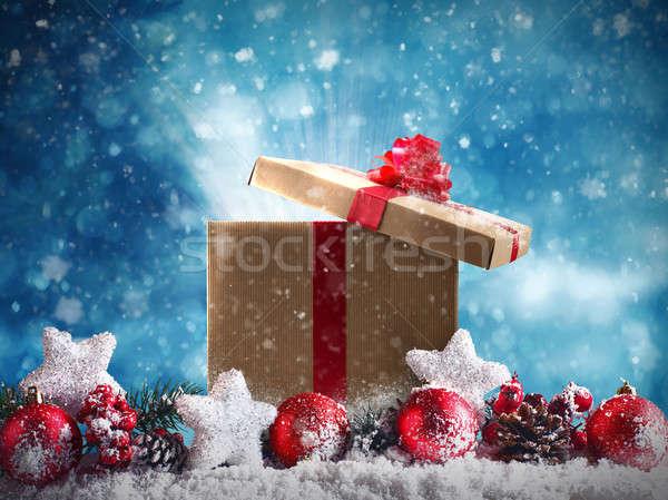 Karácsony ajándék piros golyók csillagok girland Stock fotó © alphaspirit