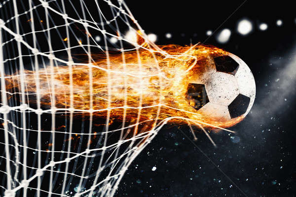 Fútbol bola de fuego objetivo neto profesional hojas Foto stock © alphaspirit