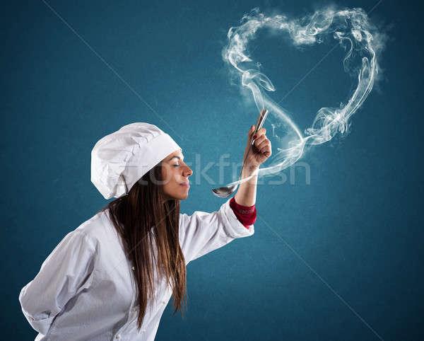 аромат женщину повар любви счастливым сердце Сток-фото © alphaspirit