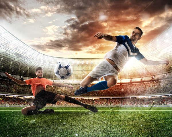 Futball jelenet versenyző játékosok stadion tevékenység Stock fotó © alphaspirit