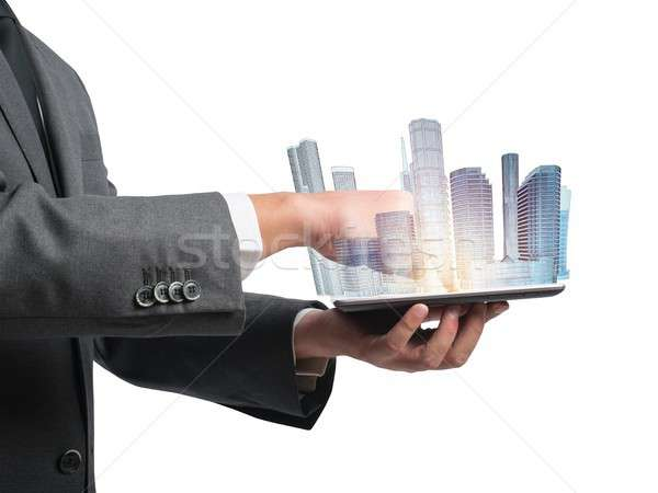 Architect shows the projection of urban project Stock photo © alphaspirit