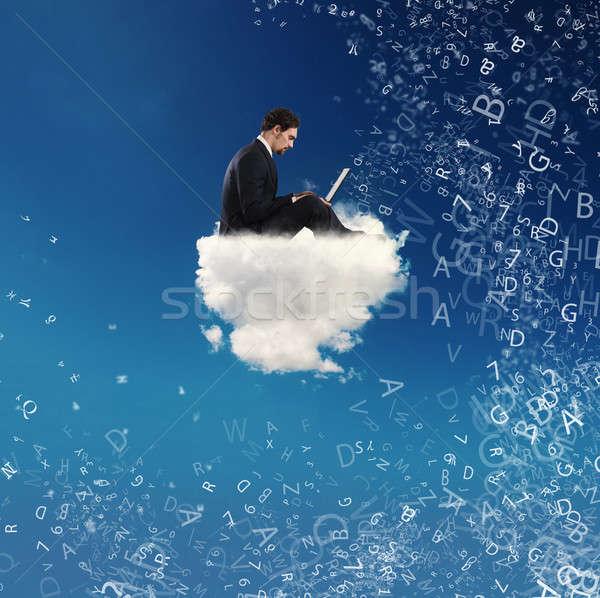 üzletember laptop felhő közösségi háló internet függőség Stock fotó © alphaspirit