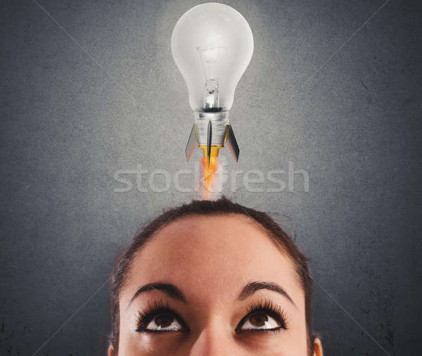 Fast lightbulb as a rocket ready to fly. Concept of new super idea Stock photo © alphaspirit