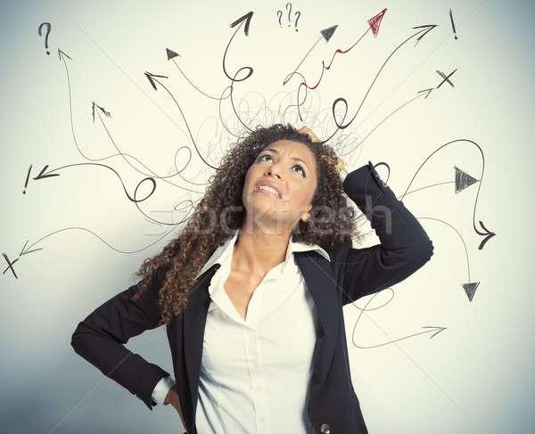 Difficile affaires fille gestionnaire flèche Photo stock © alphaspirit