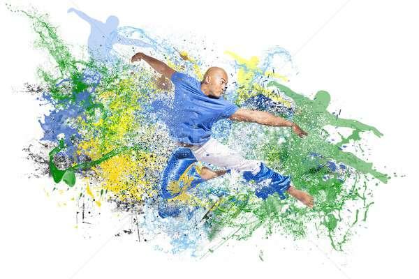 Explosie dans water springen danser man Stockfoto © alphaspirit