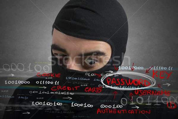 Hacker bakıyor parola kullanıcı bilgi çalışmak Stok fotoğraf © alphaspirit