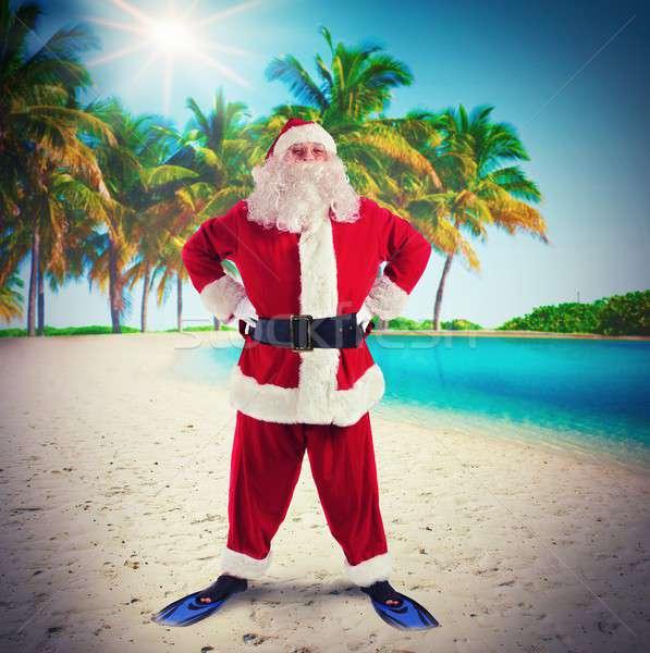 Papai noel tropical férias homem praia sol Foto stock © alphaspirit