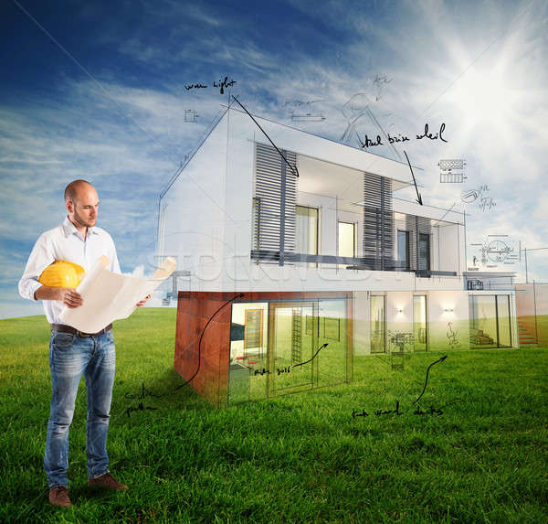 Sunny day project house Stock photo © alphaspirit