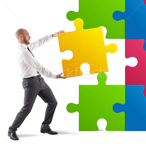 Teljes puzzle üzletember utolsó darab üzlet Stock fotó © alphaspirit