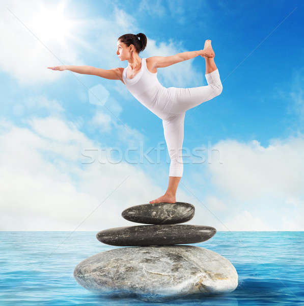 Pilates stone sea Stock photo © alphaspirit