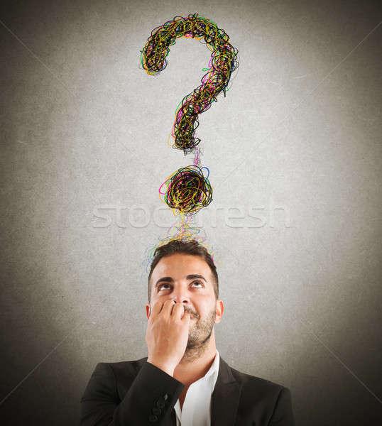 Stock fotó: üzletember · nagy · kérdés · kérdőjel · fej · férfi