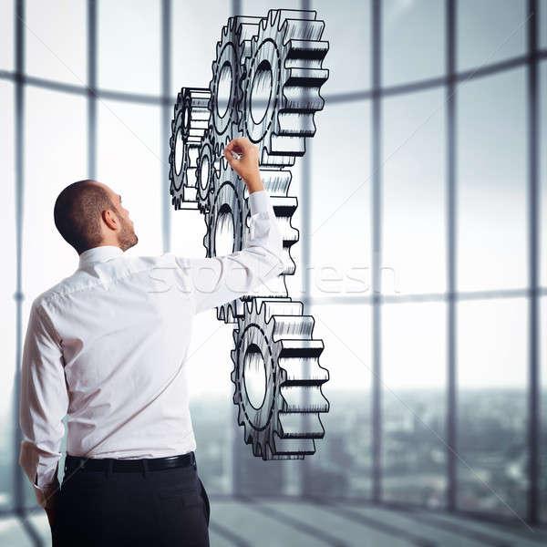 механизм передач стратегия бизнеса компания бизнесмен Сток-фото © alphaspirit