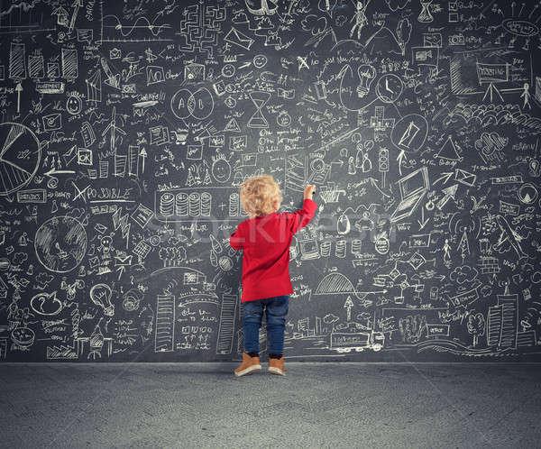 Küçük finansal dahi çocuklar diyagramları istatistik Stok fotoğraf © alphaspirit