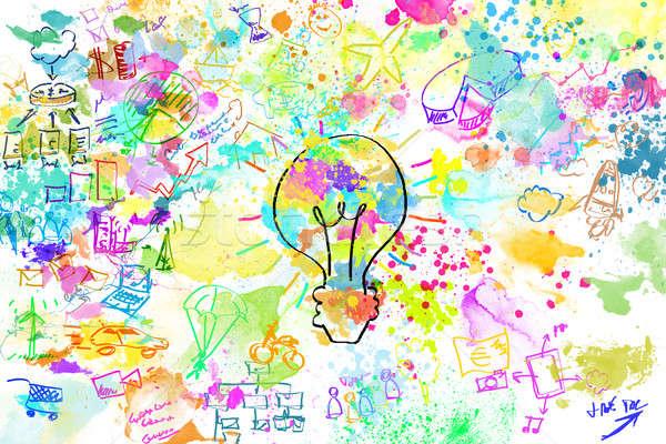 Criador negócio projeto brilhante cores lâmpada Foto stock © alphaspirit