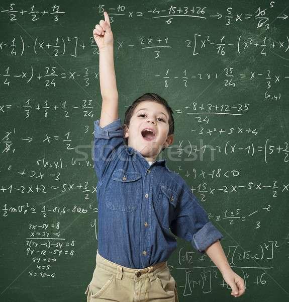 Genie kind school wiskundig berekening moeilijk Stockfoto © alphaspirit