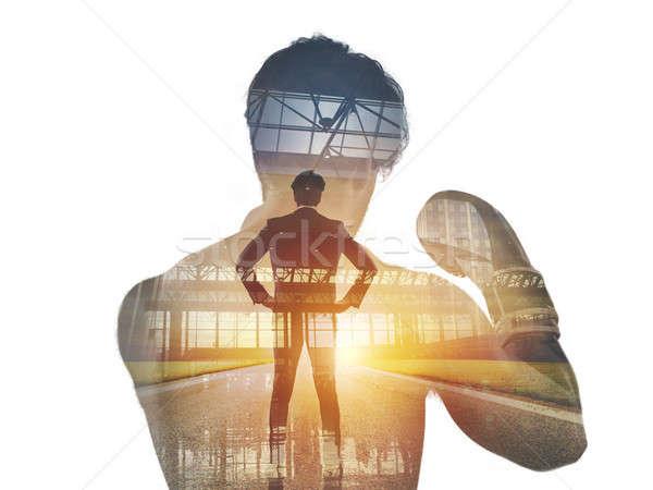 Potere determinazione combattente imprenditore raddoppiare esposizione Foto d'archivio © alphaspirit