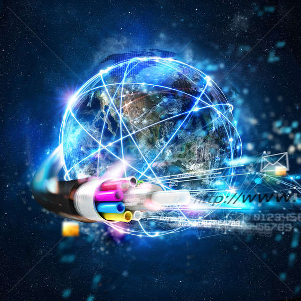 Fast internet worldwide connection with the optical fiber Stock photo © alphaspirit