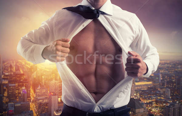 Businessman like a super hero. Concept of determination and success Stock photo © alphaspirit