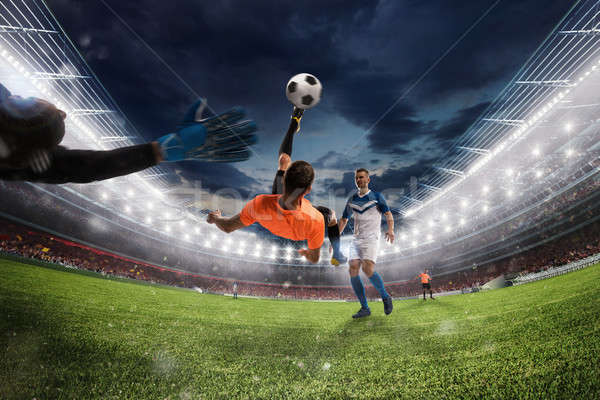 Football balle acrobatique vélo coup 3D Photo stock © alphaspirit