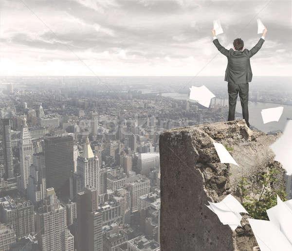 Geschäftsmann erreicht Erfolg Business Arbeit Job Stock foto © alphaspirit