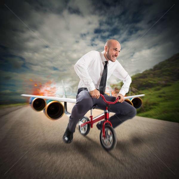 Vliegtuigen fiets zakenman fiets business brand Stockfoto © alphaspirit